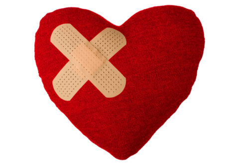 Heart Pillow with Adhesive Bandage